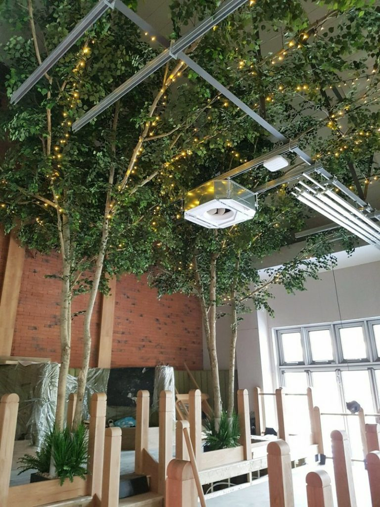 6.5m Artificial ceiling Birch Tree extending canopy across the ceiling