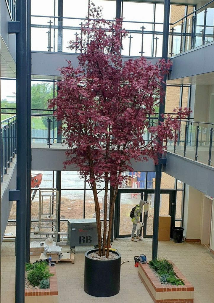 8 metre Fire rated artificial layered red maple Tree