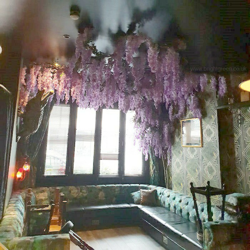 Artificial Ceiling Lilac Wisteria in restaurant