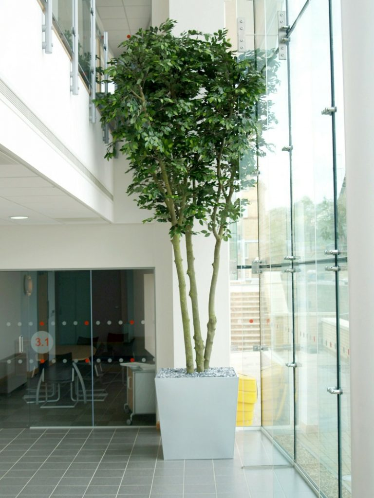 Artificial Ficus tree in metal planter