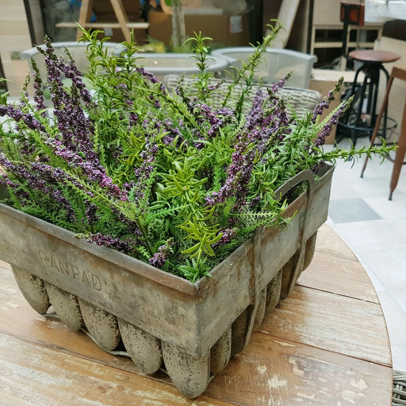 Artificial Herbs and Heathers in Metal Pot