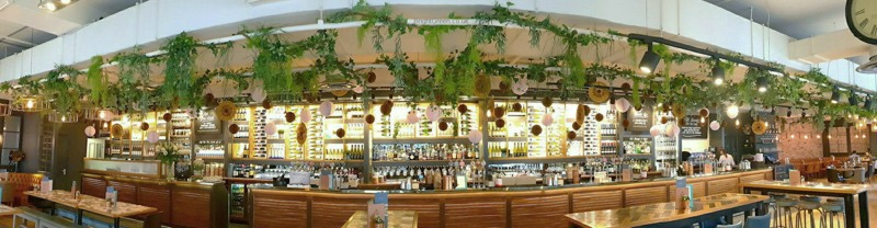 Artificial Trailing Foliage on Vine above Bar SIZED