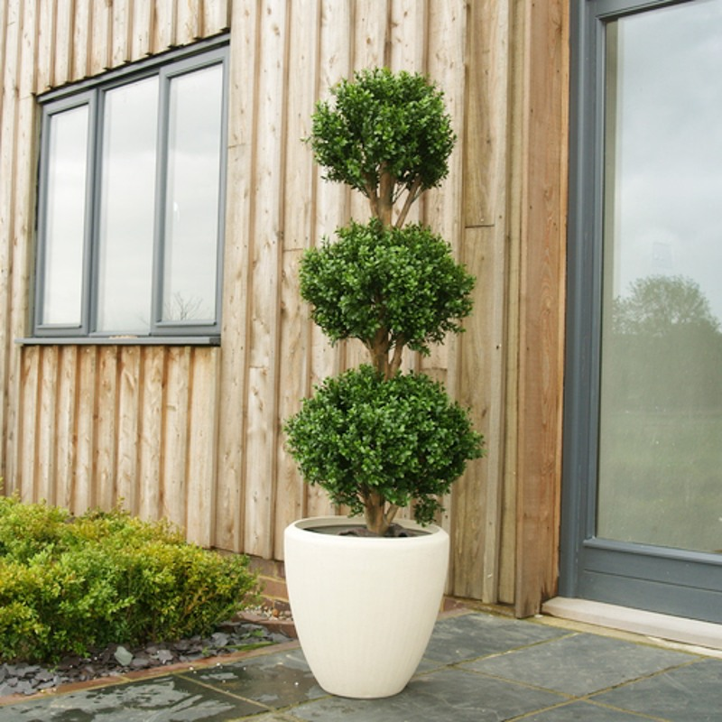 Artificial buxus triple ball topiary
