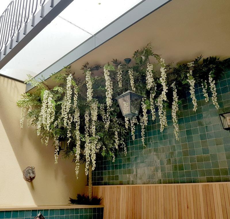 Artificial cream ceilingwisteria