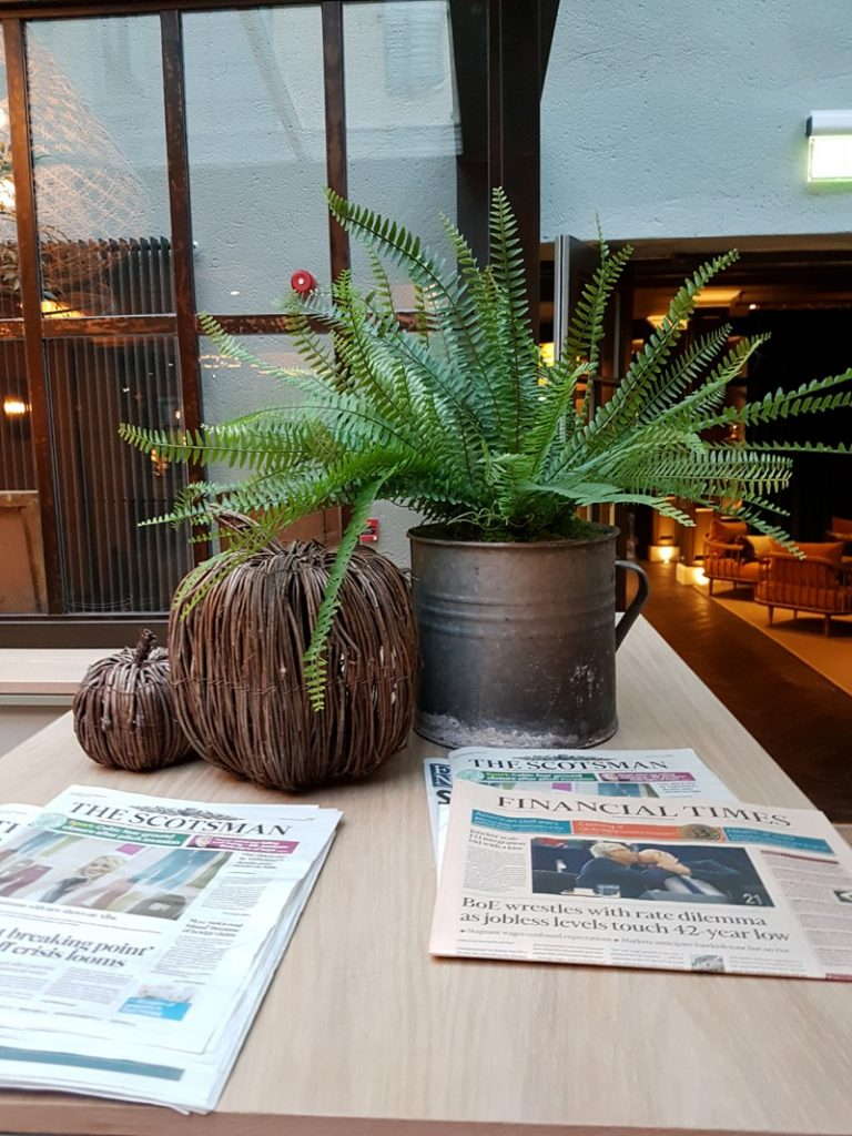 Artificial fern in metal pot