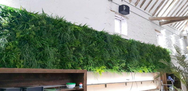Artificial green wall interior