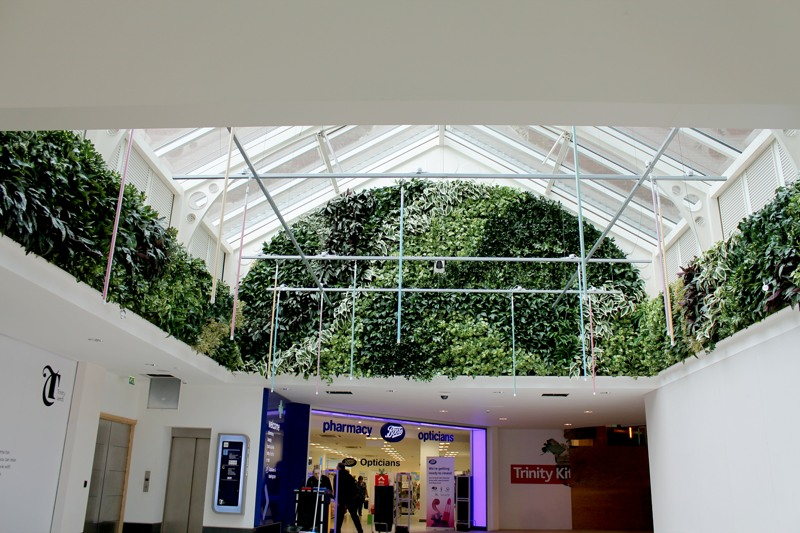 Artificial green wall shopping centre by Bright Green