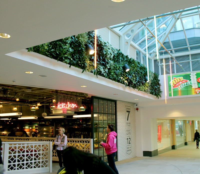 Artificial green wall shopping centre side section