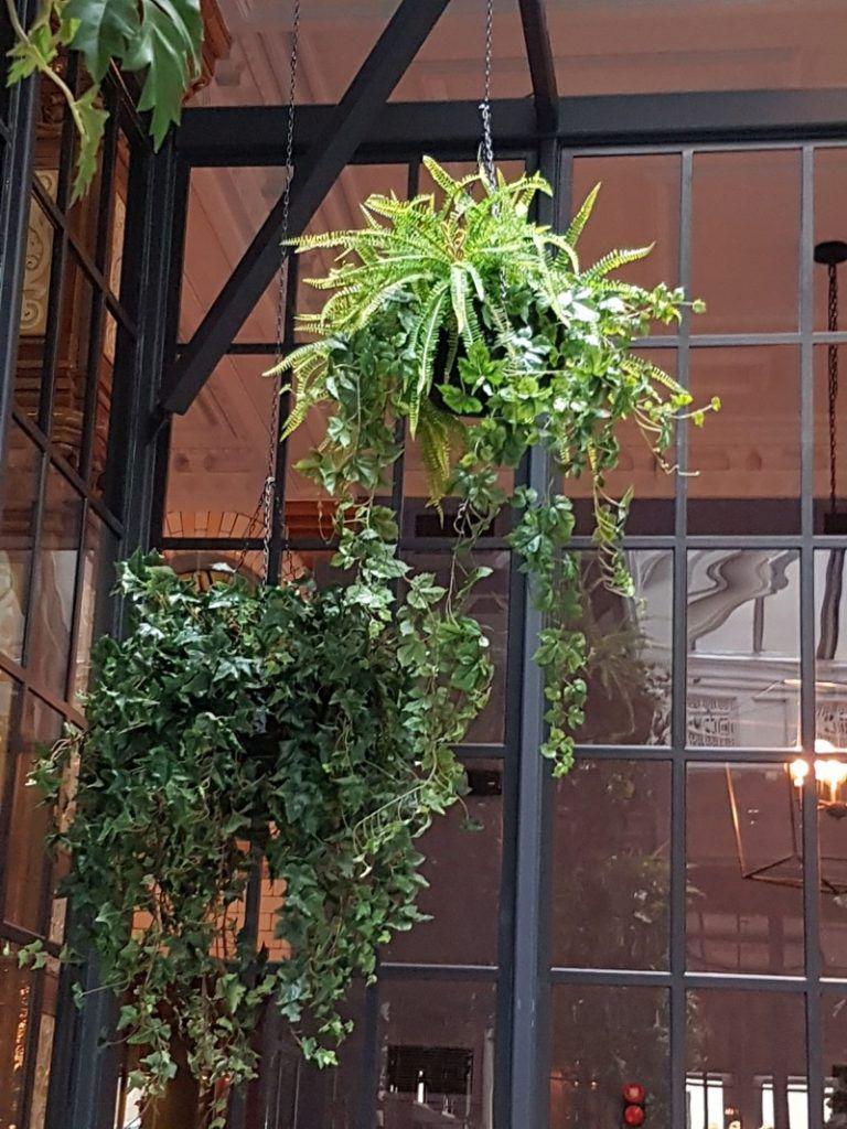 Artificial hanging basket mixed foliage