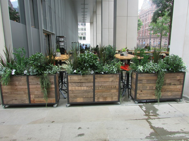 Artificial trough plants for outside restuarant