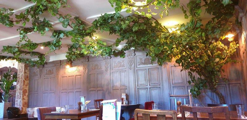 Artificial vine across ceiling