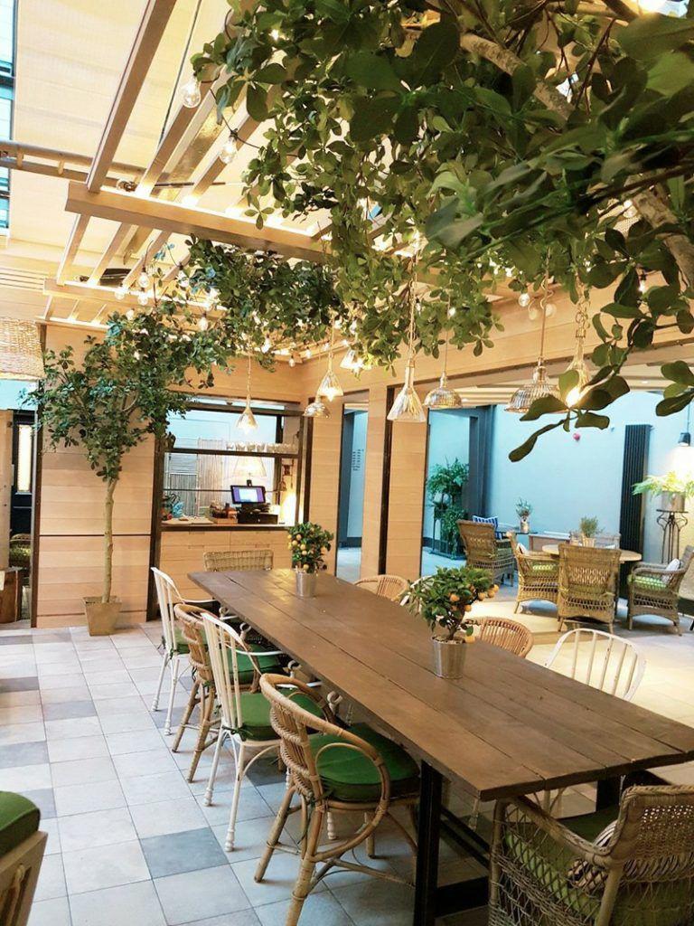 Bespoke artificial high level planting scheme restaurant