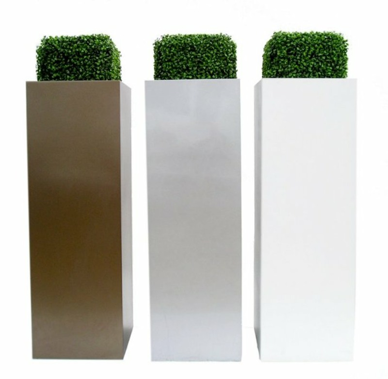 Classic Artificial Boxwood half cubes in 1500mm fibreglass tall towers