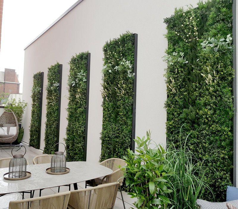 Exterior artificial green wall panels