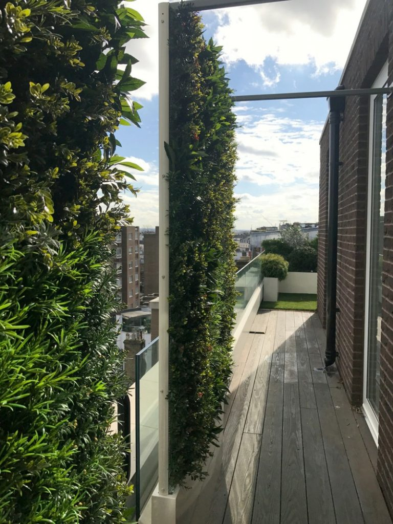 Exterior artificial green wall screening on roof terrace