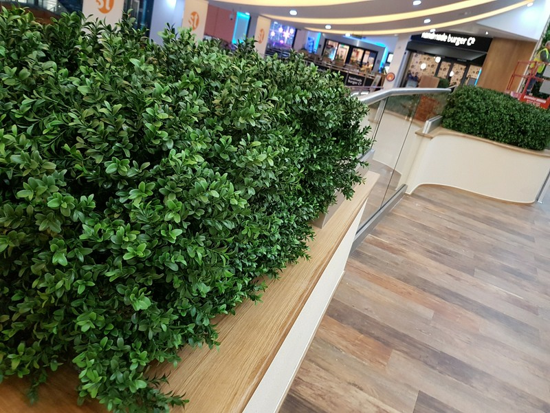 Exterior grade Boxwood hedge made on real wood stems for natural appearance