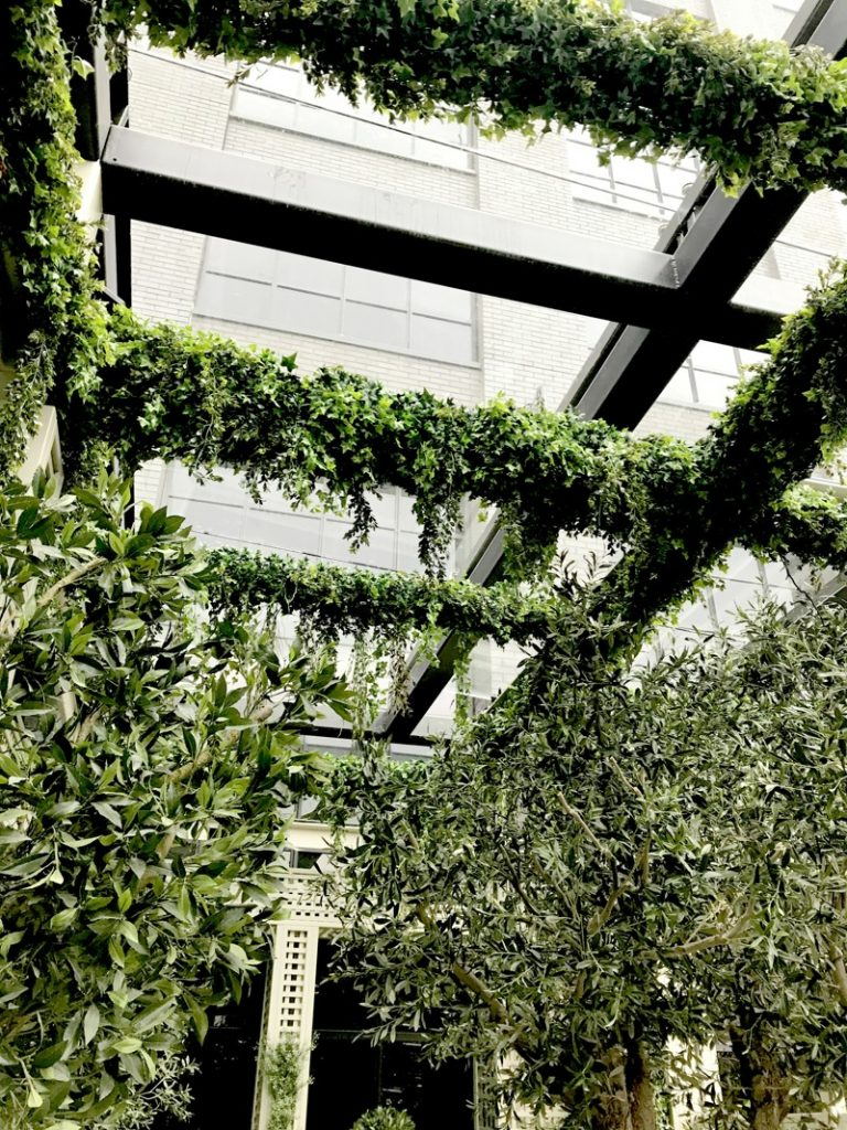 Exterior high level artificial planting to cover beams