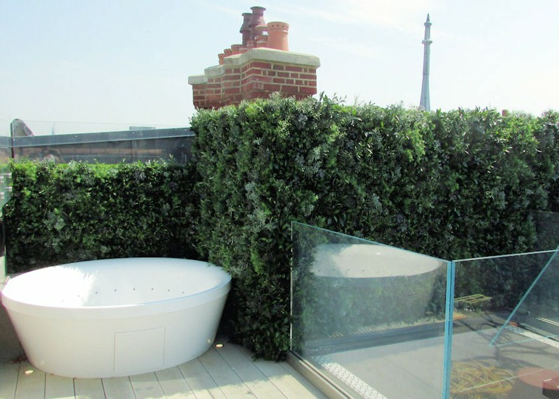 Fake Green Wall for an Exterior Roof Top Terrace