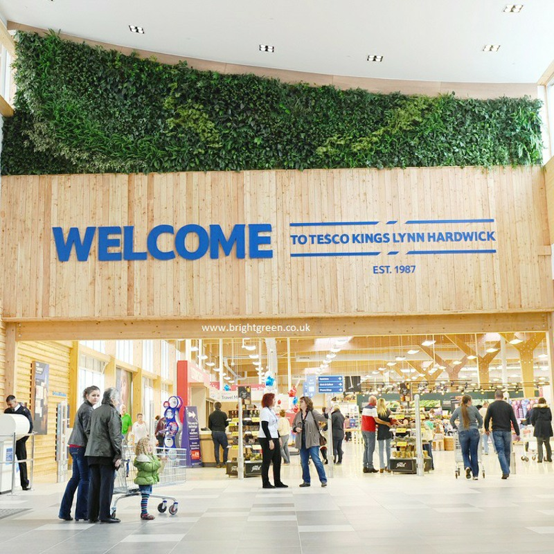 Fire rated artificial green wall for Tescos