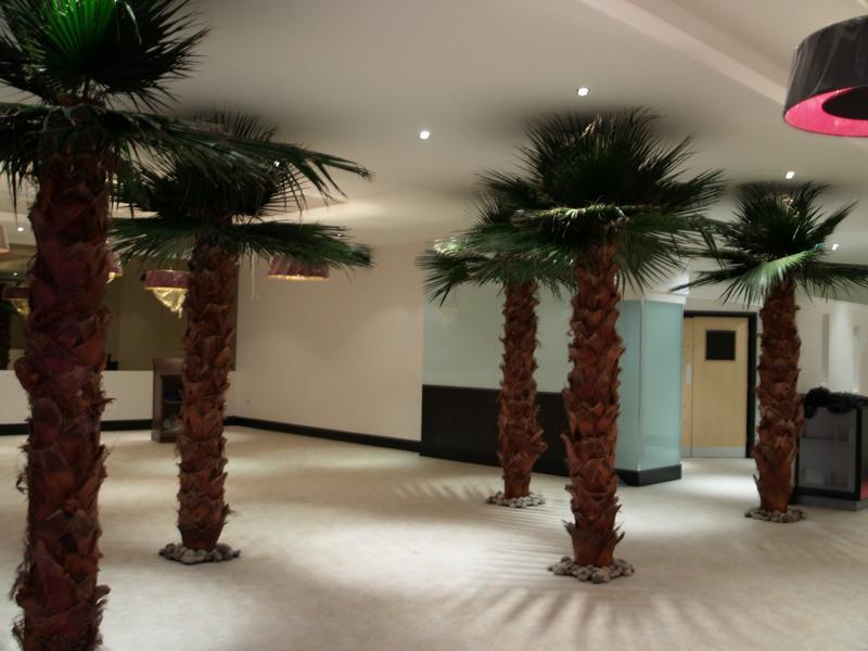 Interior artificial Washingtonia palm trees