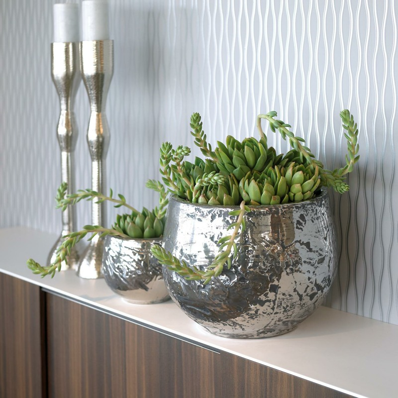 LUXURY ancient chrome table top planter in situ