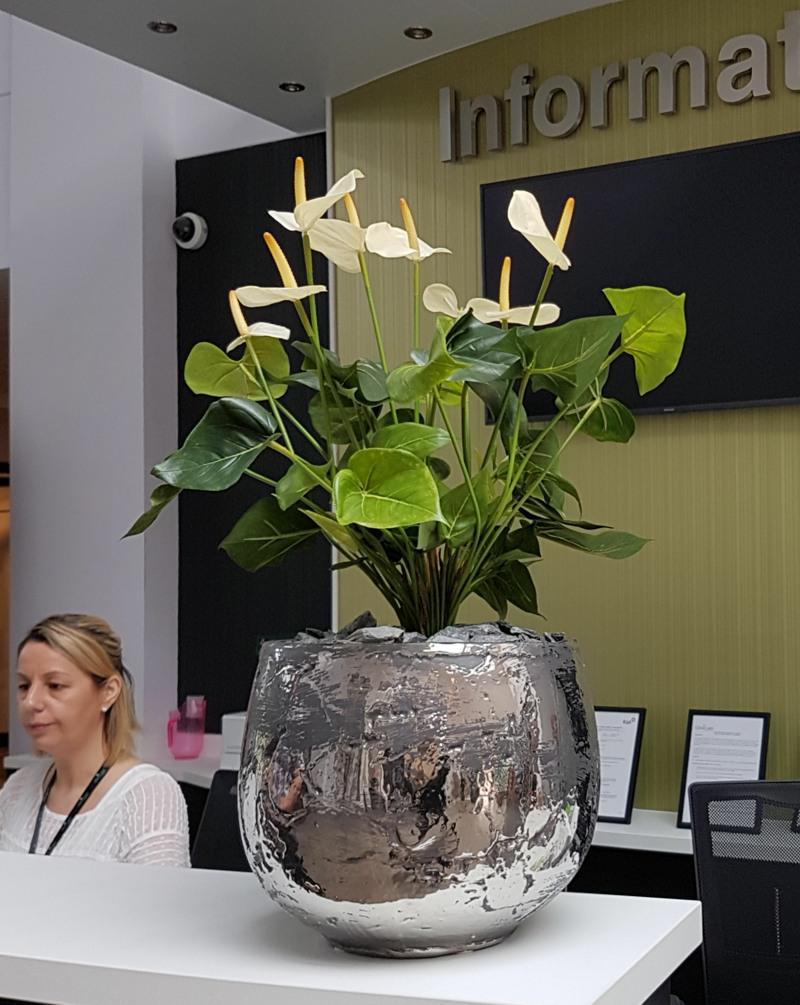 Luxry Chrome pot with Artificial Anthurium