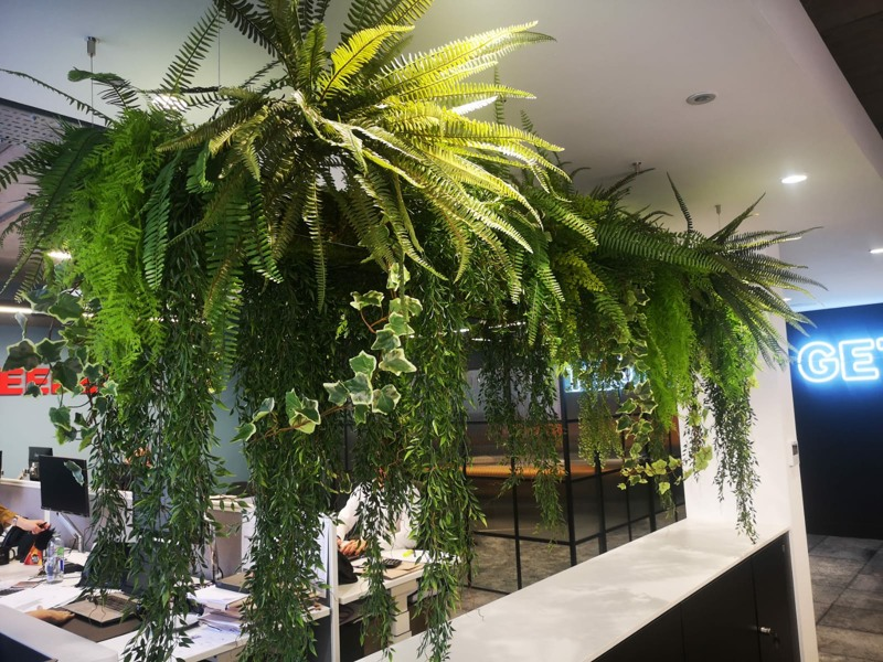 Mixed high level artificial foliage in office