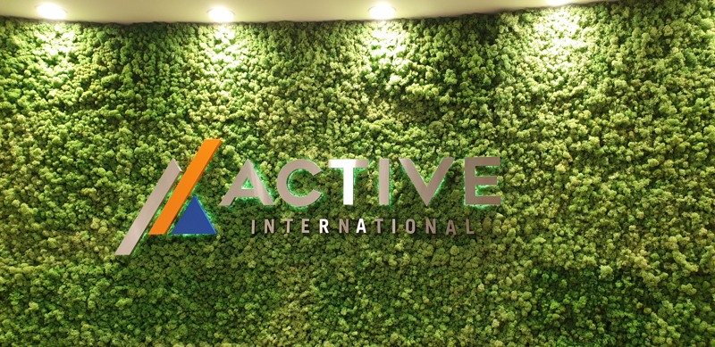 Moss wall with logo