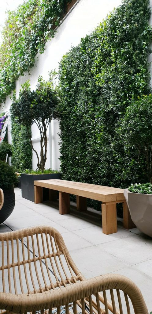 Outdoor artificial green wall bespoke made by Bright Green