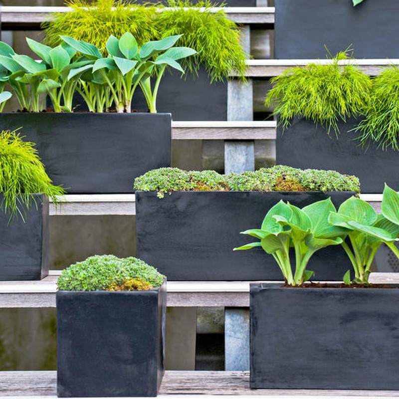 Stone resin trough planters