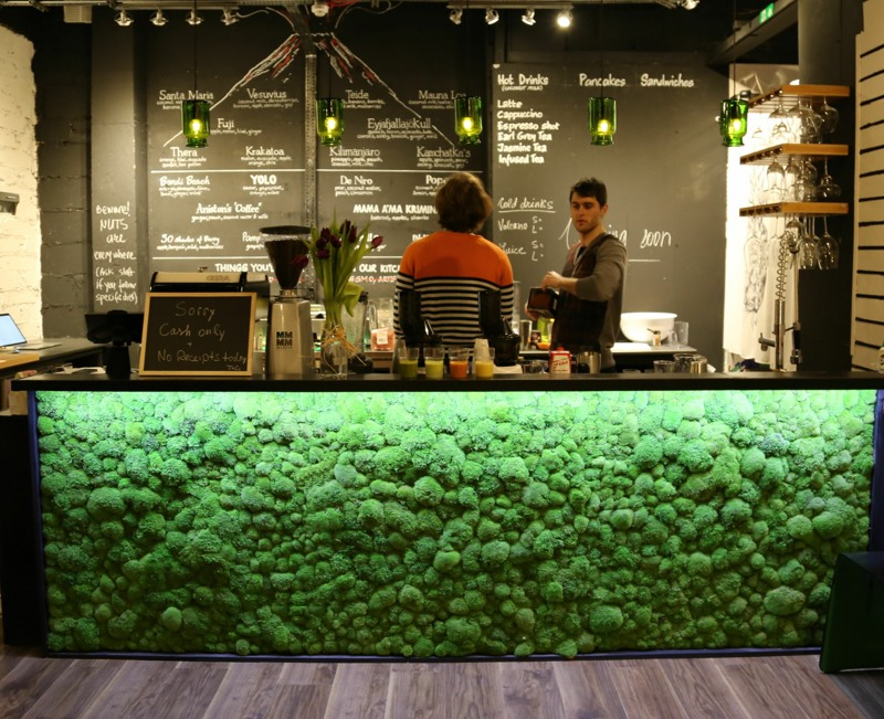 bar front with real moss panel