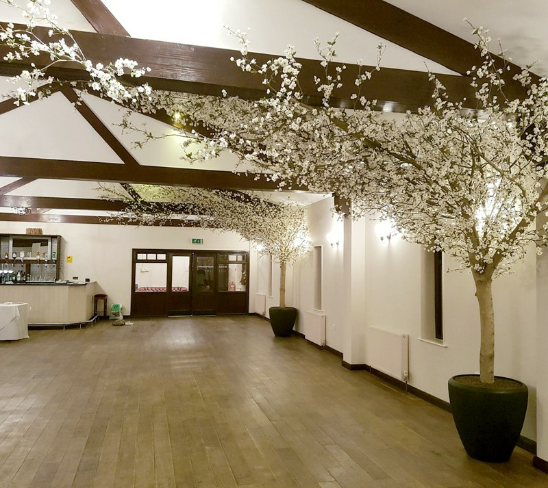 ceiling blossom trees in hotel