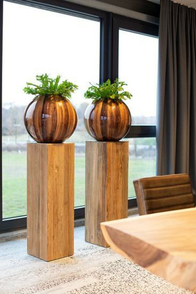 round banana wood planters
