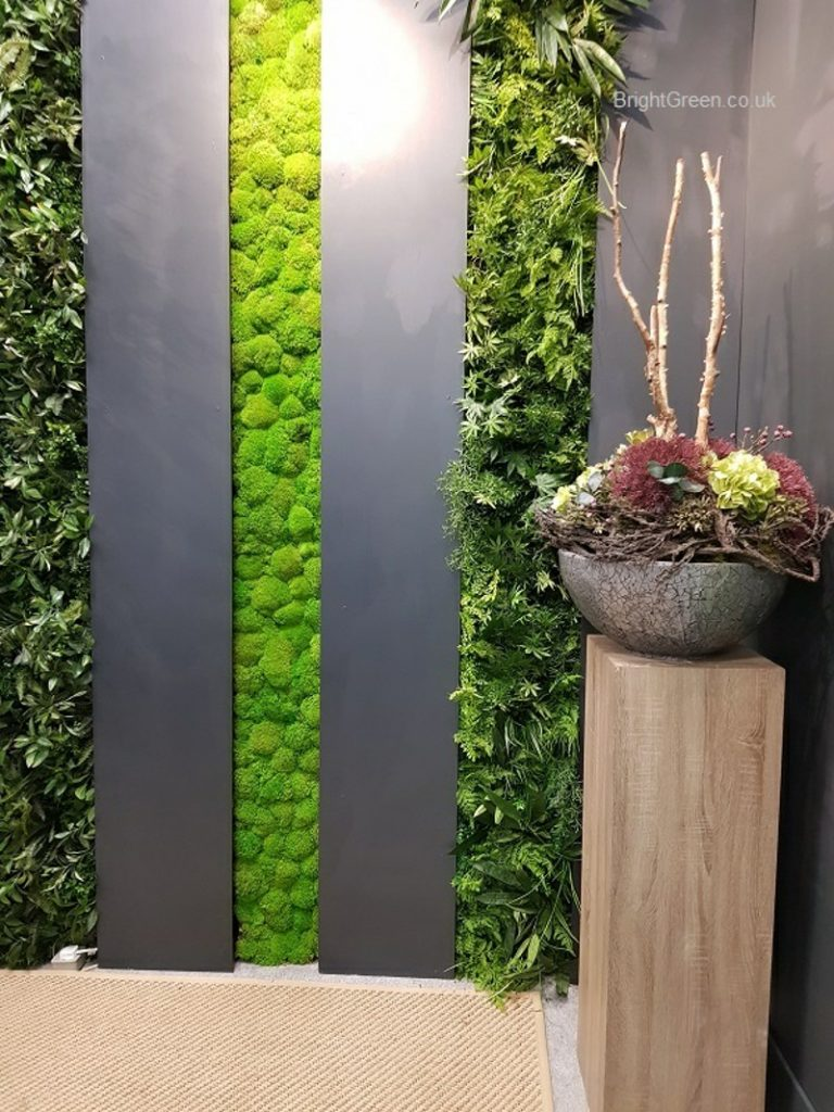 vertical strips of moss and artificiall foliage at the Independent Hotel Show